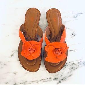 NWOT Born Orange Leather Flower Sandals